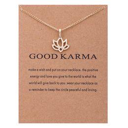Cadena corta de oro diseña mujeres online-ZHIMO Nuevo diseño Oro Plata Cadena corta Buen Karma Lotus Colgante Gargantilla Collar para Mujer