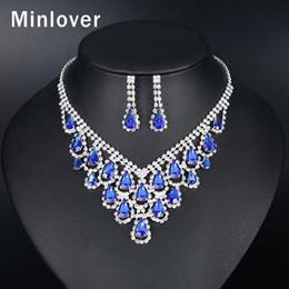 Orecchini a cristallo di diamanti del teardrop del rhinestone online-Minlover Teardrop Blue Crystal Set di gioielli da sposa per donna Elegante strass argento color oro collana orecchini set TL588