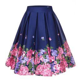 Jupe plissée à plus grande taille en Ligne-Retro Floral Print Vintage Jupes Plissées Femmes Taille Haute Plus Taille Midi Coton D'été Jupe Swing 4XL