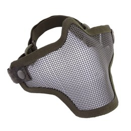 steel tactical mask Promo Codes - Half Lower Face Metal Steel Net Mesh Ajustable Hunting Tactical Protective Mask Gofuly