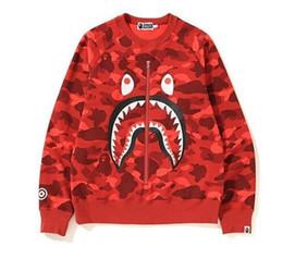 2019 karikaturfrauenjacke APE Herren Hoodies Fashion Herren Designer Cartoon Shark Printing Hoodies Jacke Männer Frauen Hohe Qualität Beiläufige Sweatshirts Schwarz günstig karikaturfrauenjacke