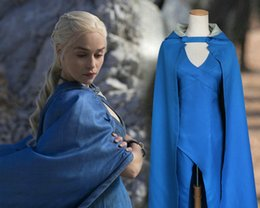 più il catsuit d'argento di formato Sconti Costumi di Dany Mantello di Daenerys Targaryen Abbigliamento Game of Thrones Gonna cosplay calda Abito da catsuit per feste Cos felpe colorfast