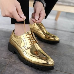 91 scarpe Sconti New Gold Sliver Oxford Leather shoes Casual Shoes Male Spring Autumn Footwear For Male Wedding Formal GRANDI DIMENSIONI 47 LH-91