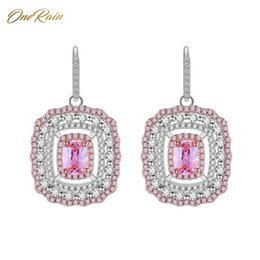 pink gemstones earrings Coupons - OneRain 100% Luxury 925 Sterling Silver Pink Sapphire Gemstone Long Drop Dangle Hook Wedding Engagement Earrings Women Wholesale