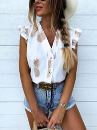 Blusas da luva do flutter camiseta on-line-2019 Verão Mulheres de férias elegante shirt Abacaxi Lazer Top Feminino férias meninas doces da cópia Flutter Sleeve Blusa Casual