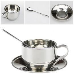 Set de cucharas pequeñas online-Originalidad Juegos de tazas de té con cuchara y platillo Color de acero inoxidable aislado Pequeño plato Taza de café Set 11 8mtE1