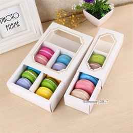 food stamps Promo Codes - 50pcs White Macaron box with transparent window dessert macarons pastry packaging boxes in 2 sizes DHL free shipping