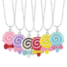 Kids Cartoon Best Friends Forever BFF necklaces For Grils Resin Candy colors Lollipop Bow Pendant beads chains Children friendship Jewelry