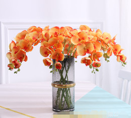 2019 grinaldas de videira a atacado 9 Orquídeas falsificados Chefe Europeia Phalaenopsis borboleta real toque de orquídea 5 cores Orchid flor artificial para o casamento Decoração Atacado