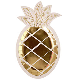 Party Gold Ananas Einweggeschirr Kindergeburtstag Favor Pappteller Hawaii Luau Party Dekoration Baby Shower Supplies von Fabrikanten