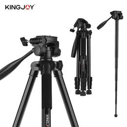 2019 trípodes ajustables KINGJOY VT-880 Trípode de cámara de aleación de aluminio ajustable portátil 2 en 1 Monopod Fotografía panorámica de 360 ° para Canon Nikon Sony trípodes ajustables baratos