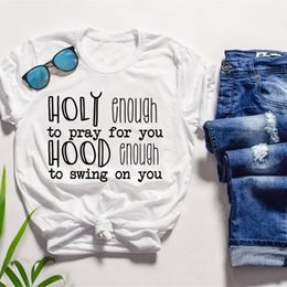 2019 Funny Christian Slogan Tee Holy Enough to Pray for you T Shirt Graphic Vintage Red Clothing quote Jesus lover girl Tops t shirts