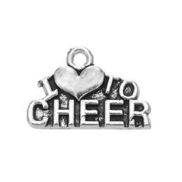 Joyería simple del encanto del corazón carta colgante de plata tibetana plateado Cheer mamá palabra encantos animando joyería al por mayor a granel 20 unids / lote desde fabricantes