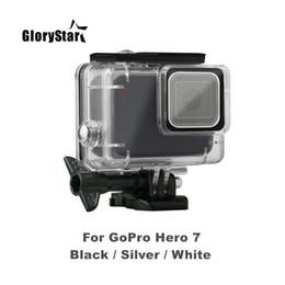 Acessórios gopro preto on-line-Glorystar 45 m case à prova d 'água subaquática para gopro hero 7 prata preto branco camera proteção habitação case acessórios de mergulho