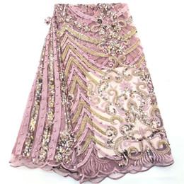 2019 merletti in seta africani Tessuti con lacci nigeriani francesi Tessuto con lacci africani di alta qualità Pizzo da sposa con perline e paillettes 5 iarde