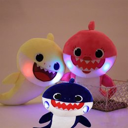 baby toys new Coupons - 30cm 3 Colors Baby Shark Plush Toys With Music Luminescence Cartoon Stuffed Lovely Animal Soft Dolls Music Shark Toy Sound Shark 2019 New