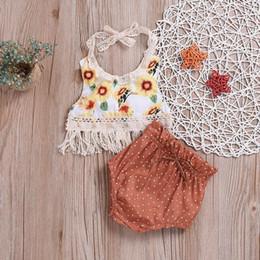 Jolies tenues de tshirt en Ligne-2019 bébés filles jarretelles costumes 2pcs ensembles infantile Toddle mignons tournesol glands Backless gilet Tshirt + Polka Dot PP Pant Bloomer tenues