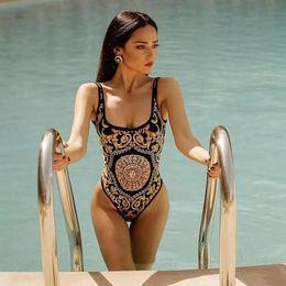 Europa mulheres biquíni on-line-One Piece Biquíni Mulheres Vers Cintura Alta Europa Ouro Impresso Swimwear Verão Praia Maiô Bodysuits LJJO6864