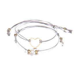 Elegantes brazaletes de perlas online-2 Unids / set Charm Cuerda Trenzada Perla Corazón Brazalete Pulsera Elegante Corazones Huecos de Múltiples capas Armadura Cuerdas Tobilleras Pulseras Joyería