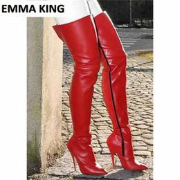 Стильные ботинки онлайн-Красный Стильный Plain Toe Заостренный стилет каблук высокие сапоги Кожа PU молнии Высокие каблуки сексуальные красные женщины над коленом обувь