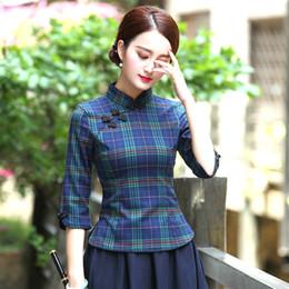 2019 chinês roupas cheongsam Mulheres Camisa Xadrez Chinesa Estilo Antigo Tops Chinois Roupas Cheongsam Tang Traje Blusa A República Da China Vento Terno XXXL chinês roupas cheongsam barato