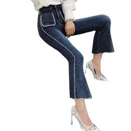 2019 moda de frente Beadings Patchwork Jeans Mulheres Frentes Bolsos de Cintura Alta Denim Flare Calças Femininas Coreano 2019 Moda Primavera Novo desconto moda de frente