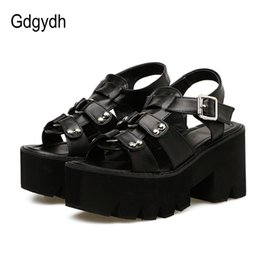 Gdgydh Chunky Heel Sandals Woman Platform Punk Shoes 2019 New Summer Open Toe Shoes Female Block Heel Fashion Rivet DiscountMX190830