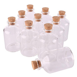 wholesale crafted bottles corks Promo Codes - 24pcs 50ml Size 40*63*12.5mm Transparent Glass Bottles with Cork Stopper Empty Spice Bottles Jars Gift Crafts Vials