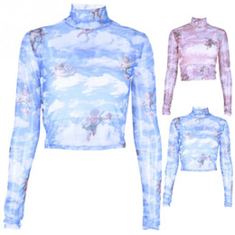 Футболки-поло онлайн-Women Print Pattern Long Sleeve Mesh T-Shirt Turtleneck Sexy Crop Top Tee Shirt