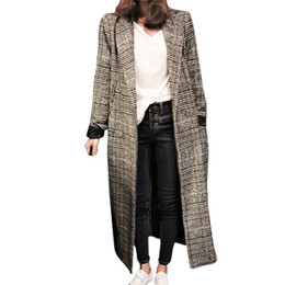 Abrigo gabardina mujer abrigo manga larga online-Las mujeres a cuadros abrigo largo de manga larga abrigo de lana suelta outwear mujer invierno otoño gabardinas más tamaño