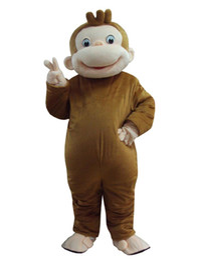 disfraz de mono de halloween de lujo adulto Rebajas Curioso traje de mascota de George Monkey Disfraces de disfraces de dibujos animados para adultos grandes animales marrón Fiesta de Halloween