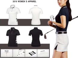 Ti t shirt онлайн-2019 OEM футболка Ti Golf лето сухая посадка молочно-ледяной шелковой ткани гладкие касания спортивные топы для леди 2 цвета доступны