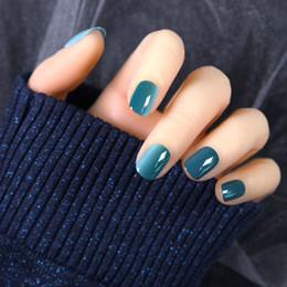 Canada 2019 Nouveau Simple Gradient Bleu Carré Court Couleur Pure Summer Nails Conseils Marine Faux Ongles Avec Colle Couverture Complète Appuyez sur Offre