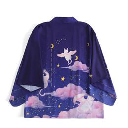 2019 abrigos de estilo de las mujeres japonesas Camisa de verano Cárdigan Kimono japonés Mujer Cárdigan Kimono estampado estilo japonés Chaqueta negra Abrigo Streetwear Outwear rebajas abrigos de estilo de las mujeres japonesas