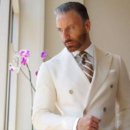 2019 terno de ouro borgonha 2017 Mais Recente Casaco Calça Designs Marfim Dupla Breasted Blazer Homens Terno Jaqueta Casual homens Ternos Skinny Tuxedo Masculino personalizado