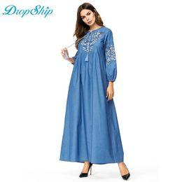 ab25ec8052 Dropship Maxi Denim Long Dress Floral Embroidery High Waist Swing A-Line Dress  Autumn 2018 Dubai Arab UAE Plus Size Clothing C19011001 cheap plus size ...