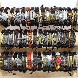 2019 amuletos de jesus Mens Vintage Cross Jesus Love Animal Etc Mix Style Leather Metal Charm Bracelets Ajustable Brazalete Pulsera Para Mujeres Regalos Joyería amuletos de jesus baratos
