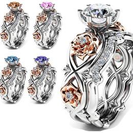 anillo de diamantes de cristal swarovski 18k Rebajas anillo de diamantes crsytal anillo rosa diseñador de lujo joyería mujeres anillos anillos de boda conjuntos campeón rosa azul blanco colores bague