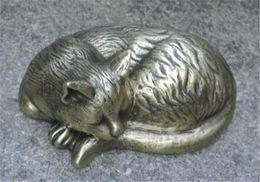 Laiton dormant Chat Vintage Métal Chat Animal Figurine Statue Cottage Cour Jardin En Plein Air Décor À La Maison Pays Ornement Bureau Bronze Antique ? partir de fabricateur