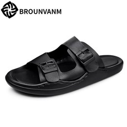 cowhide flat flip flops Promo Codes - Genuine Leather Men's slippers summer all-match cowhide sandals Sneakers Men Slippers Flip Flops casual Shoes beach outdoor