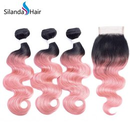 Silanda Hair Ombre Color Colored #T 1B / Rose Gold Körperwelle Brasilianisches Remy Menschenhaar-Spinnen Bundles mit 4X4 Lace Closure Kostenloser Versand von Fabrikanten
