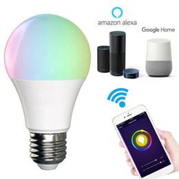 2019 ha condotto la lampadina wifi E27 11W Smart Light Energy Saving Dimming wifi / voce telecomando di RGB LED lampadine lavoro con Alexa Google Domotica ha condotto la lampadina wifi economici