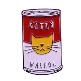 Arte andy warhol online-Distintivo di kitty warhol campbell's cans pop art spilla simpatica gatto spilla Andy Warhol dipinge regali di flair