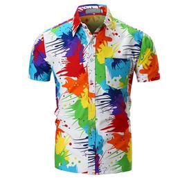 Elegantes blusas de algodón online-MISSKY Camisa de verano de los hombres con estilo único pigmento camisa de impresión blusa de playa Tops de manga corta de algodón ropa masculina