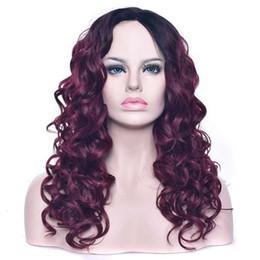 Rouge chimique en Ligne-Teinture Longs Cheveux Bouclés Fibre Chimique Haute Température Soie Cheveux Noir Vin Rouge Gradient Rose Tête Net jooyoo