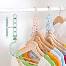 Guardarropa de ropa de plástico online-Lothing Wardrobe Storage s Hoomall Circle Creative Hanger Organizador Anti-Slip Clothes Hanger Plastic Multilayer Windproof Hanger Fixed Bu ...