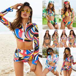 vestiti di bagno lunghi del manicotto Sconti Tendenze Deep V Swimwear manica lunga stampata Sexy Bikini Set Estate Brazil Beach vita alta Costume da bagno 2 pezzi Monokini Push Up Completa da bagno