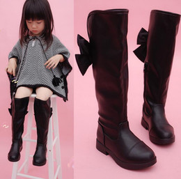Argentina 2019 New Model Girls arco botas individuales negras sobre la rodilla botas altas para niños primavera y otoño botas de cuero para niños coreanos Suministro