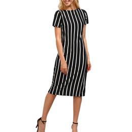 Argentina Moda para mujer Vestido de oficina para mujer Manga corta O Cuello A rayas Hasta la rodilla Vestidos de cambio Estilo Sumemr OL Vestido de trabajo #L supplier neck shift dress Suministro