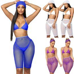 2019 traje de baño de malla transparente Pantalones cortos transparentes de las mujeres Bikini Cover Up Malla Pantalones transparentes sólidos Trajes de baño Traje de baño Natación Traje de baño